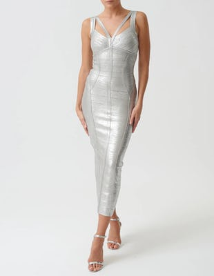 Metallic Silver Bodycon Bandage Midi Dress