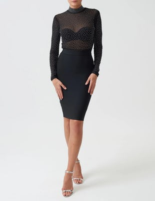 Black Long-Sleeved Bandage Midi Dress with Studded Sheer Mesh Top