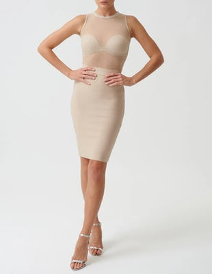 Beige Bandage Midi Dress with Studded Sheer Mesh Top
