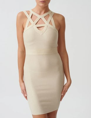 Gold Bandage Bodycon Mini High Neck Dress