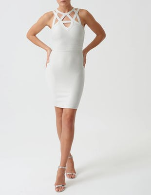 Silver Bandage Bodycon Mini High Neck Dress