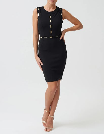 Black Mini Bodycon Dress with Gold Metal Detailing