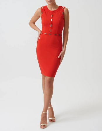 Red Mini Bodycon Dress with Gold Metal Detailing