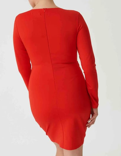 Curve - Red Bodycon Long Sleeve Dress with Lace Up Detail