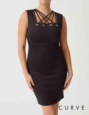 Curve - Black Bodycon Dress with Lace Up Detail
