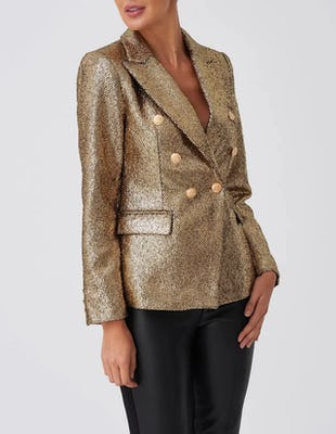 Gold Glittered Double-Breasted Blazer