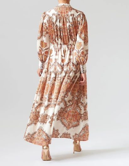 Nude and Orange Paisley Print Long Sleeve Maxi Dress