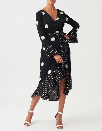 Black and White Long Sleeve Polka Dot Midi Dress
