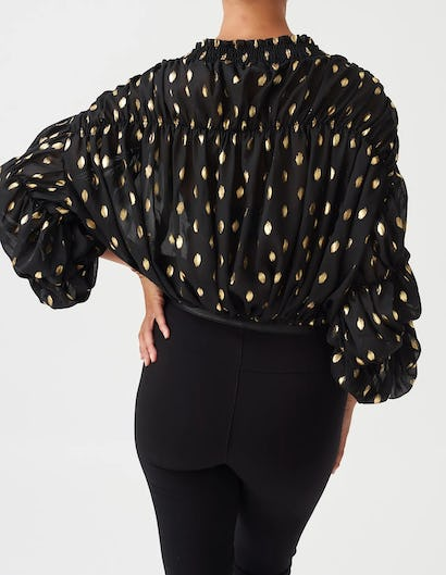 Black and Gold Ruched Polka Dot Blouse