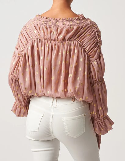 Nude and Gold Ruched Polka Dot Blouse
