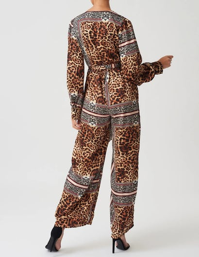 Leopard and Scarf Print Long Sleeve Jumpsuit