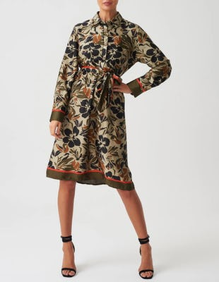 Floral Khaki Midi Shirt Dress