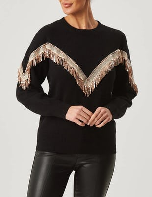 Black Long Sleeve Jumper with Sequin Fringe