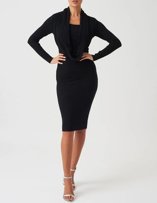 Black Knitted Long Sleeve Midi Dress