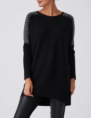 Black Knitted Longline Jumper with Gemmed Detailing