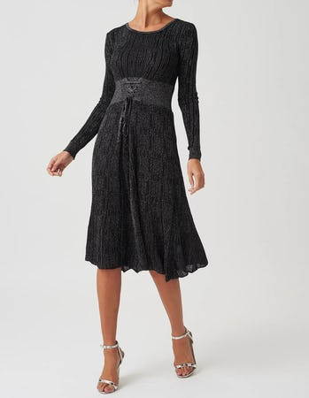 Black Glitter Long Sleeve Midi Dress