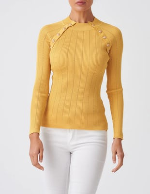 Yellow Rib-Knit Jumper with Gold Button Detailing