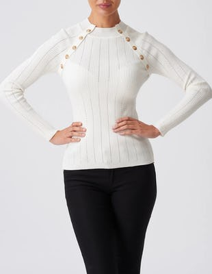 White Rib-Knit Jumper with Gold Button Detailing