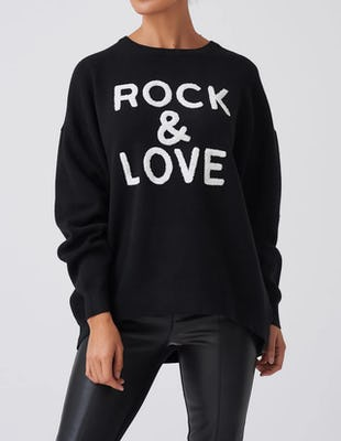 Black Oversized Rock & Love Slogan Jumper