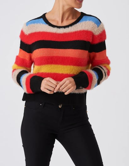 Striped Multicolour Long Sleeve Knitted Jumper