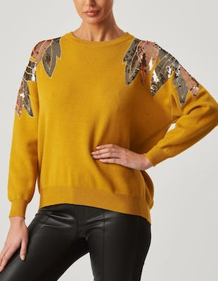 Mustard Long Sleeve Sequin Jumper