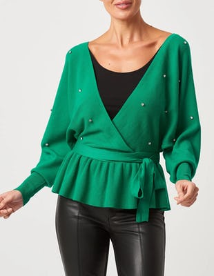 Green Knitted Embellished Tie-Waist Jumper