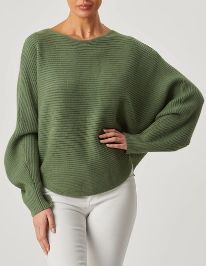 Khaki Ribbed Batwing Knitted Jumper