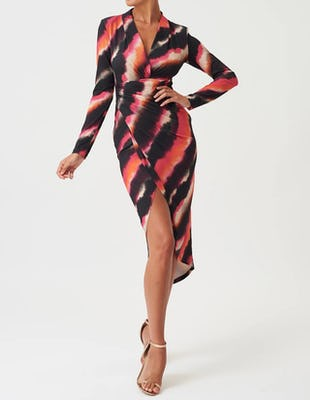 Multi-Colour Long Sleeve Wrap Midi Dress