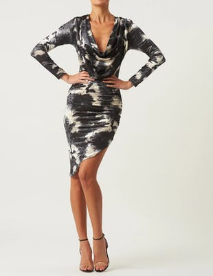 Grey Marble Velvet Long Sleeve Midi Dress