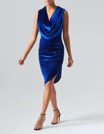 Blue Velvet Cowl Neck Midi Dress