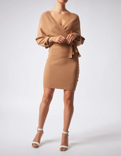 Brown Knitted Wrap Long Sleeve Dress