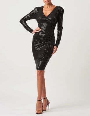 Black Sequin Long Sleeve Wrap Midi Dress