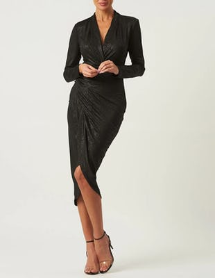 Black Croc Print Long Sleeve Midi Wrap Dress