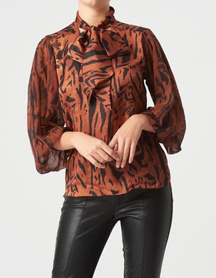 Brown Animal Print High Neck Bow Blouse