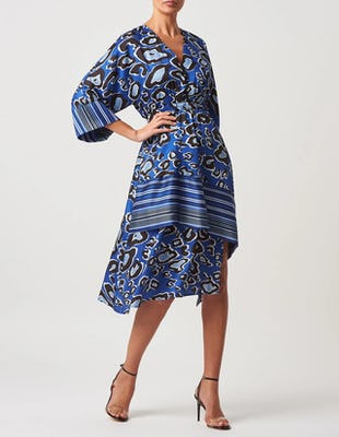 Blue Leopard Print Plunge Midi Dress