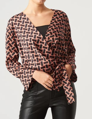 Orange and Black Geometric Print Top with a Tie Waist