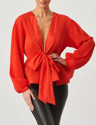 Red Plunge Blouse with Peplum Bow