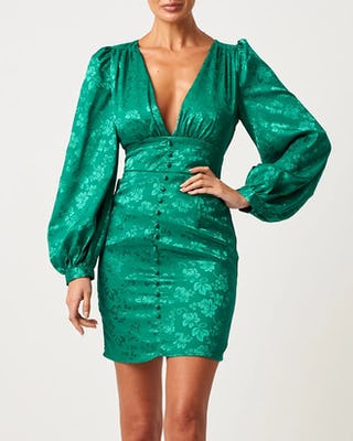 Green Satin Long Sleeve Floral Mini Dress