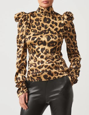 Leopard Print High Neck Long Sleeve Blouse