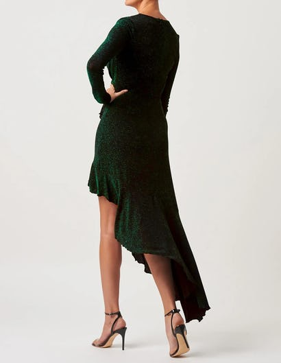 Green Long Sleeve Asymmetric Maxi Dress