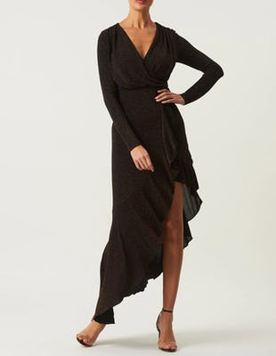 Bronze Long Sleeve Asymmetric Maxi Dress