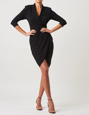 Black Plunging Tailored Midi Dress