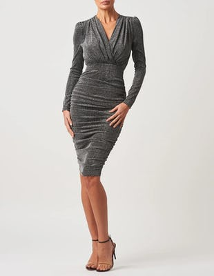 Silver Sparkly Long Sleeve Midi Dress