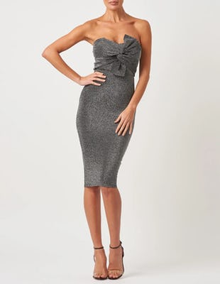 Silver Sparkly Bardot Midi Dress with Front Bow