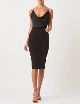 Black Midi Dress with Chain Detailing