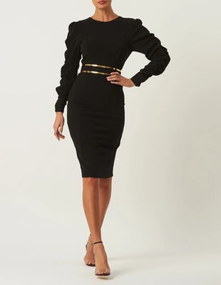 Black Long Sleeve Midi Dress with a Gold Belt