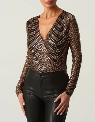 Black and Rose Gold Sequin Bodysuit