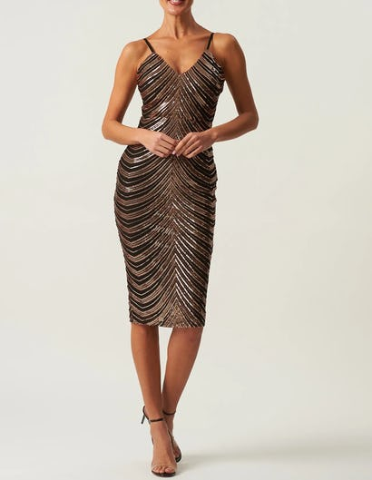 Black and Rose Gold Sequin Embellished Bodycon Midi Dress