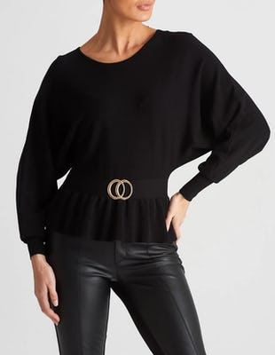 Black Knitted Batwing Top with Belt Detailing