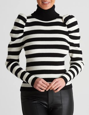Black and White Striped Roll Neck Jumper